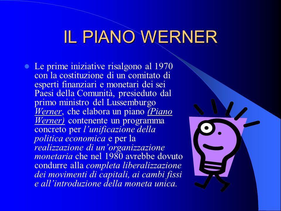 IL PIANO WERNER Le prime iniziative risalgono al 1970 con la costituzione di un comitato di esperti finanziari e monetari dei sei Paesi della Comunità