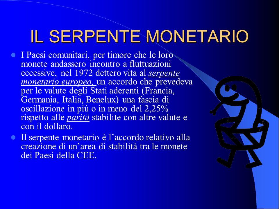 IL SERPENTE MONETARIO I Paesi comunitari, per timore che le loro monete andassero incontro a fluttuazioni eccessive, nel 1972 dettero vita al serpente