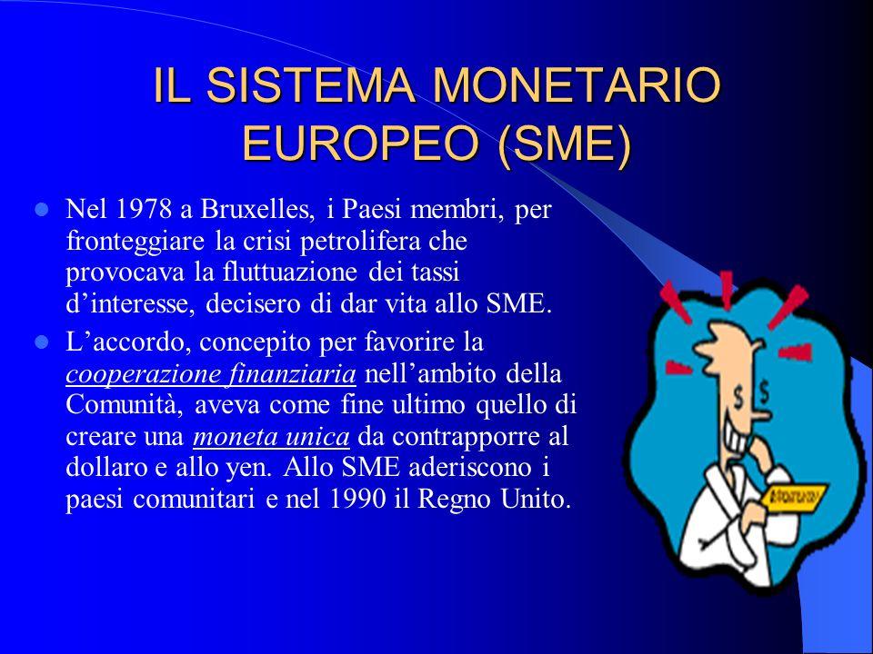 IL SISTEMA MONETARIO EUROPEO (SME) Nel 1978 a Bruxelles, i Paesi membri, per fronteggiare la crisi petrolifera che provocava la fluttuazione dei tassi