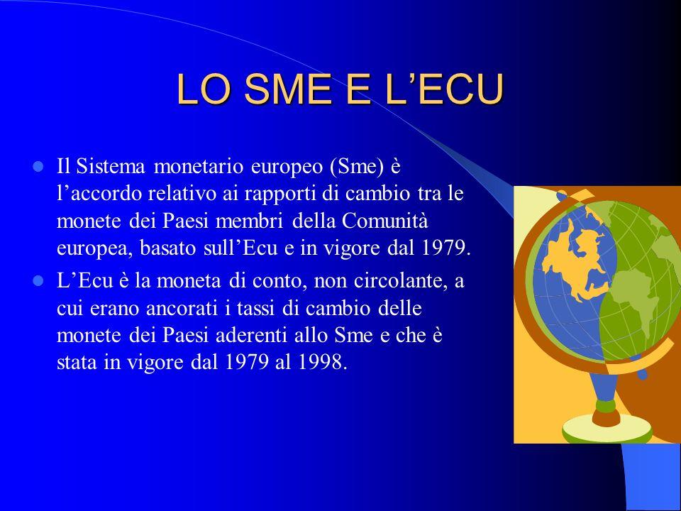 LO SME E LECU Il Sistema monetario europeo (Sme) è laccordo relativo ai rapporti di cambio tra le monete dei Paesi membri della Comunità europea, basa