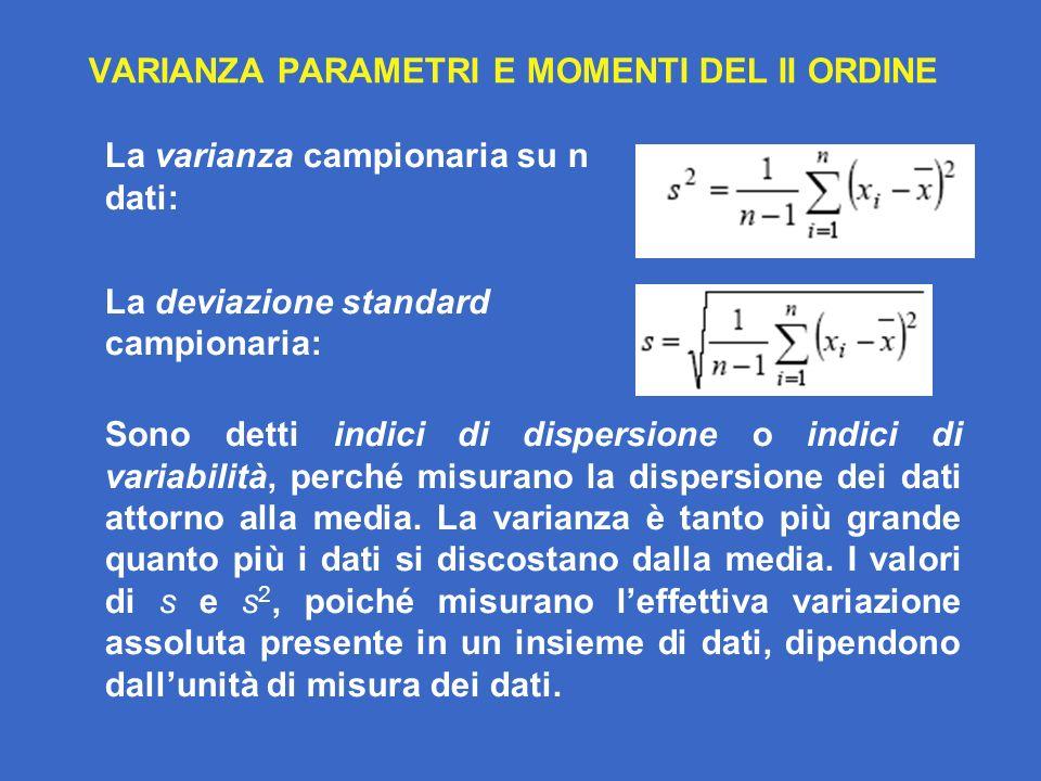 PARAMETRI E MOMENTI DI ORDINE SUPERIORE La asimmetria (skewness) dei dati è il valore campionario del momento di terzo ordine.