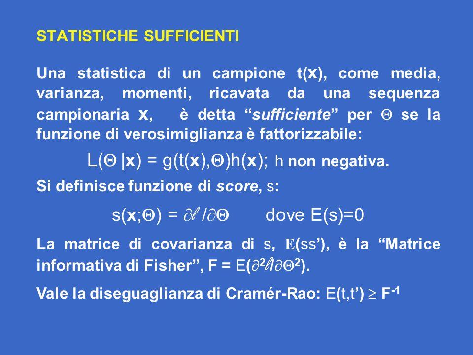 LA DISTANZA DI MAHALANOBIS In analogia formale con Fq, indipendentemente dalla distribuzione di probabilità del dato, si definiscedistanza di Mahalanobis tra due punti in uno spazio S p con matrice di normalizzazione come: D 2 (x 1,x 2 ) = (x 1 - x 2 ) -1 (x 1 - x 2 ) Se X 1,X 2 sono campioni multivariati normali iid di dimensione n 1, n 2, di due parlatori Spk 1, Spk 2 e la covarianza è la stessa, la statistica: D 2 (x 1,x 2 ) = (x 1 - x 2 ) -1 (x 1 - x 2 ) ha una distribuzione di probabilità nota: se è incognita si tratta di una T 2 di Hotelling a due campioni, versione multivariata della t di Student; se invece è nota si tratta di una chi-quadratica 2 p