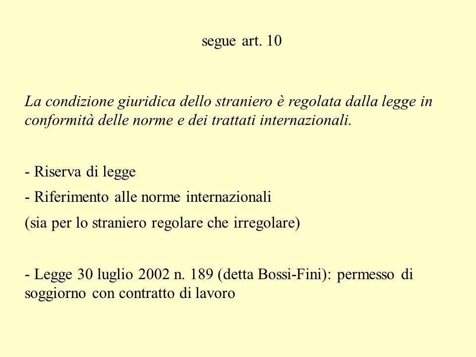 IV lezione Art 10 Lordinamento giuridico italiano si conforma alle norme del diritto internazionale generalmente riconosciute. - Norme consuetudinarie