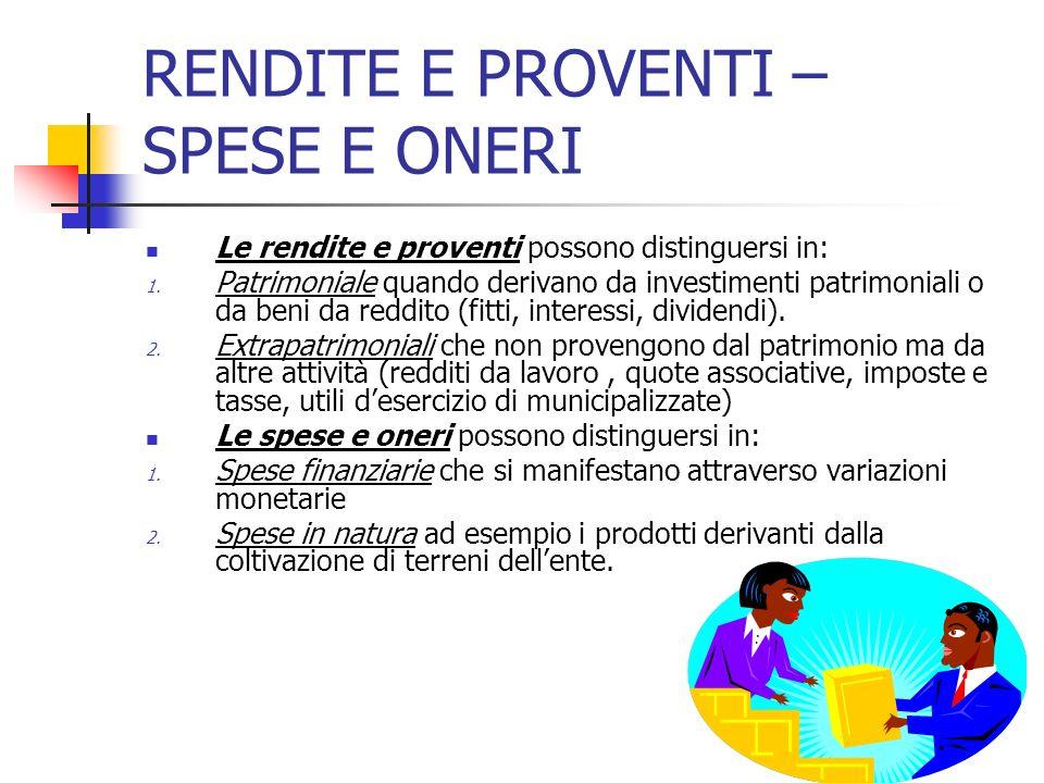 RENDITE E PROVENTI – SPESE E ONERI Le rendite e proventi possono distinguersi in: 1. Patrimoniale quando derivano da investimenti patrimoniali o da be