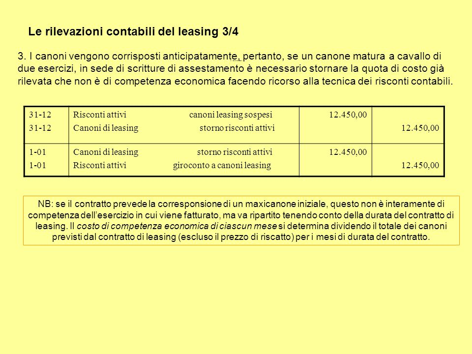 Le rilevazioni contabili del leasing 3/4 3. I canoni vengono corrisposti anticipatamente, pertanto, se un canone matura a cavallo di due esercizi, in