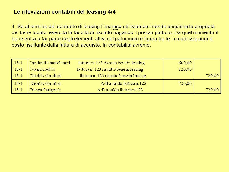 Le rilevazioni contabili del leasing 4/4 4. Se al termine del contratto di leasing limpresa utilizzatrice intende acquisire la proprietà del bene loca