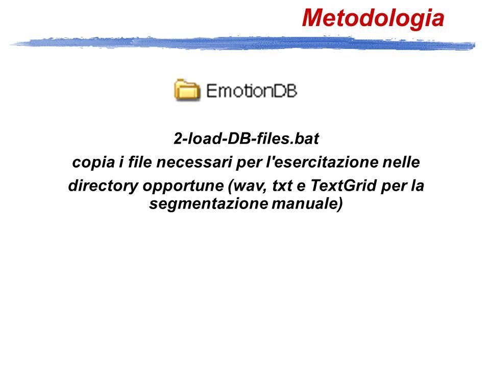 Metodologia (Tcl/OGI CSLU Toolkit) 3-allineamento-emozioni-(p).bat 4-allineamento-emozioni-(w).bat segmentazione automatica in fonemi e parole 5-post-allineamento.bat esegue operazioni di post allineamento togli2Pau.tcl toglie le doppie pause phn2lab.tcl converte i file phn (OGI) in file lab (SAMPA) wrd2wlab.tcl i file wrd (OGI) in file wlab (SAMPA)