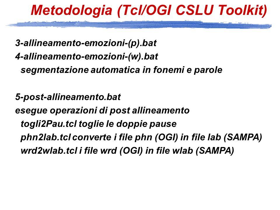 Metodologia (PRAAT) 6-to_edit_praat prepara i file TextGrid a partire dai file lab e wlab (SAMPA) 7-analysis.praat analizza i file wav salvando i risultati nei file *.analysis 8-analysisExcel.praat analizza i file wav salvando i risultati nei file *.excel