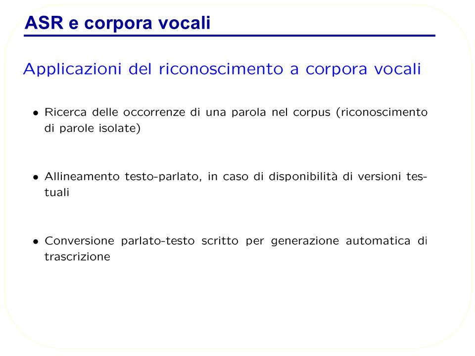 ASR e corpora vocali