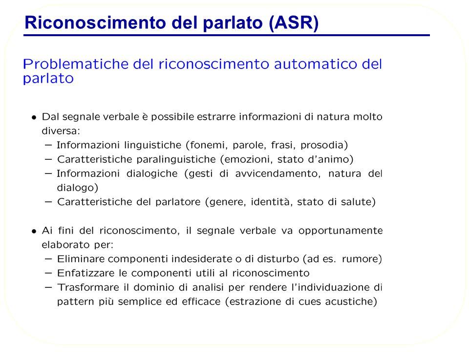 Riconoscimento del parlato (ASR)