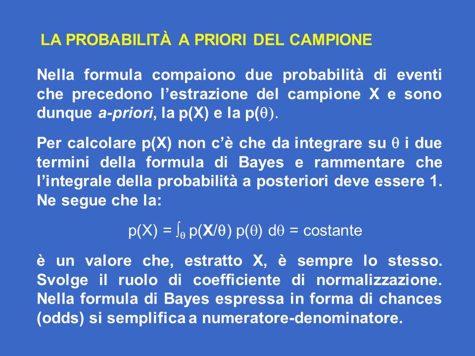 LA PROBABILITÀ A PRIORI DEL CAMPIONE Nella formula compaiono due probabilità di eventi che precedono lestrazione del campione X e sono dunque a-priori, la p(X) e la p( Per calcolare p(X) non cè che da integrare su i due termini della formula di Bayes e rammentare che lintegrale della probabilità a posteriori deve essere 1.
