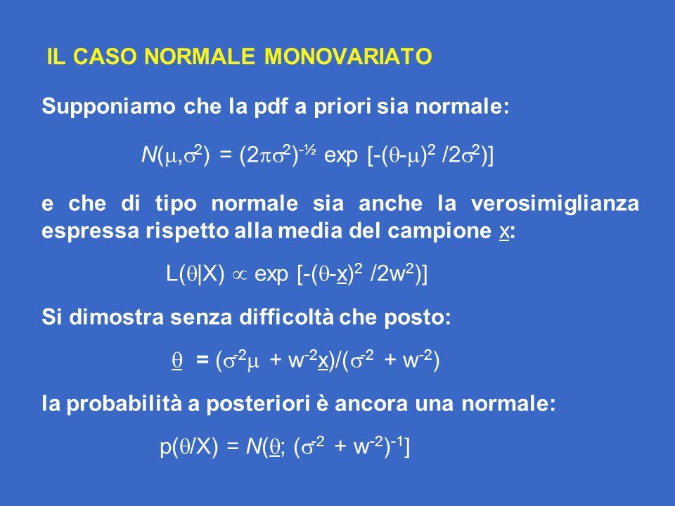 IL CASO NORMALE MONOVARIATO Supponiamo che la pdf a priori sia normale: N(, 2 ) = (2 2 ) -½ exp [-( - ) 2 /2 2 )] e che di tipo normale sia anche la verosimiglianza espressa rispetto alla media del campione x: L( |X) exp [-( -x) 2 /2w 2 )] Si dimostra senza difficoltà che posto: = ( -2 + w -2 x)/( -2 + w -2 ) la probabilità a posteriori è ancora una normale: p( /X) = N( ; ( -2 + w -2 ) -1 ]