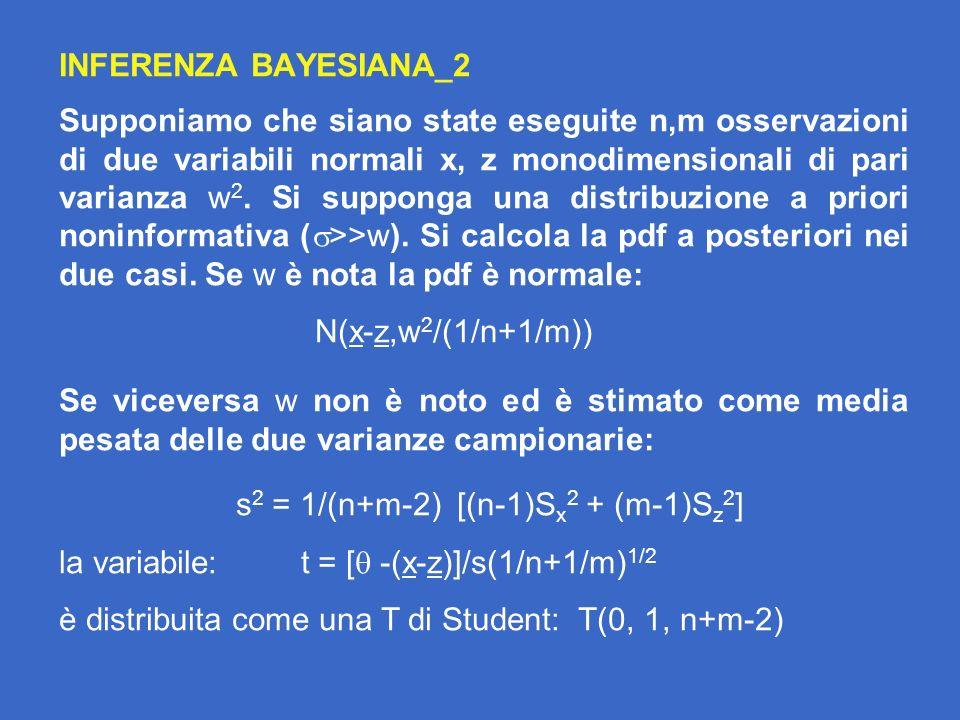 INFERENZA BAYESIANA_2 Supponiamo che siano state eseguite n,m osservazioni di due variabili normali x, z monodimensionali di pari varianza w 2.