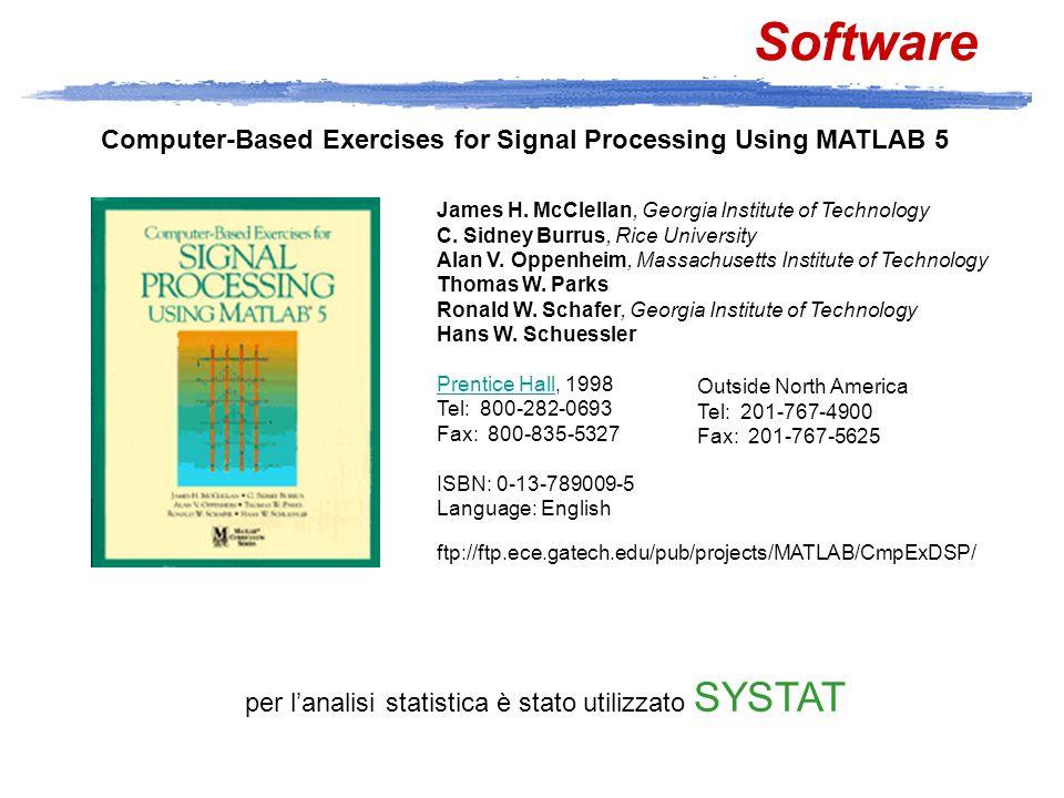 Software ftp://ftp.ece.gatech.edu/pub/projects/MATLAB/CmpExDSP/ James H. McClellan, Georgia Institute of Technology C. Sidney Burrus, Rice University