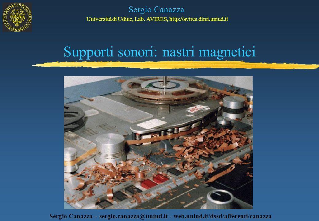 Supporti sonori: nastri magnetici Sergio Canazza Università di Udine, Lab. AVIRES, http://avires.dimi.uniud.it Sergio Canazza – sergio.canazza@uniud.i