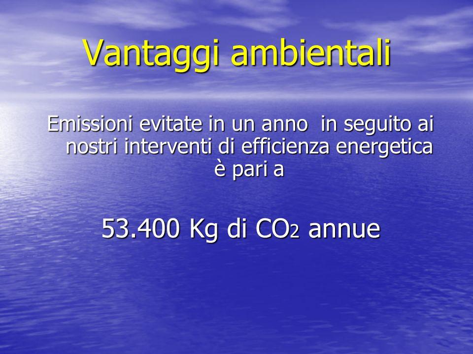Vantaggi ambientali Emissioni evitate in un anno in seguito ai nostri interventi di efficienza energetica è pari a 53.400 Kg di CO 2 annue