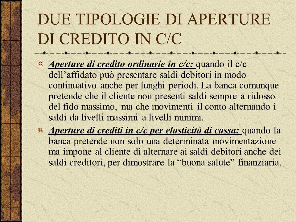 DUE TIPOLOGIE DI APERTURE DI CREDITO IN C/C Aperture di credito ordinarie in c/c: quando il c/c dellaffidato può presentare saldi debitori in modo continuativo anche per lunghi periodi.