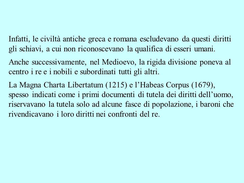 Infatti, le civiltà antiche greca e romana escludevano da questi diritti gli schiavi, a cui non riconoscevano la qualifica di esseri umani. Anche succ