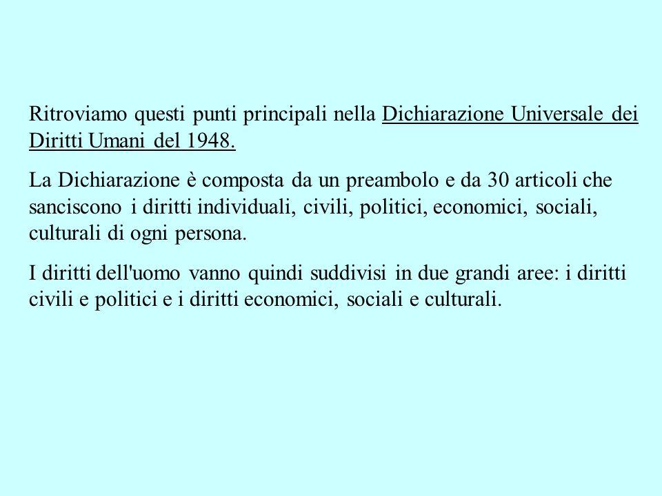 Ritroviamo questi punti principali nella Dichiarazione Universale dei Diritti Umani del 1948. La Dichiarazione è composta da un preambolo e da 30 arti
