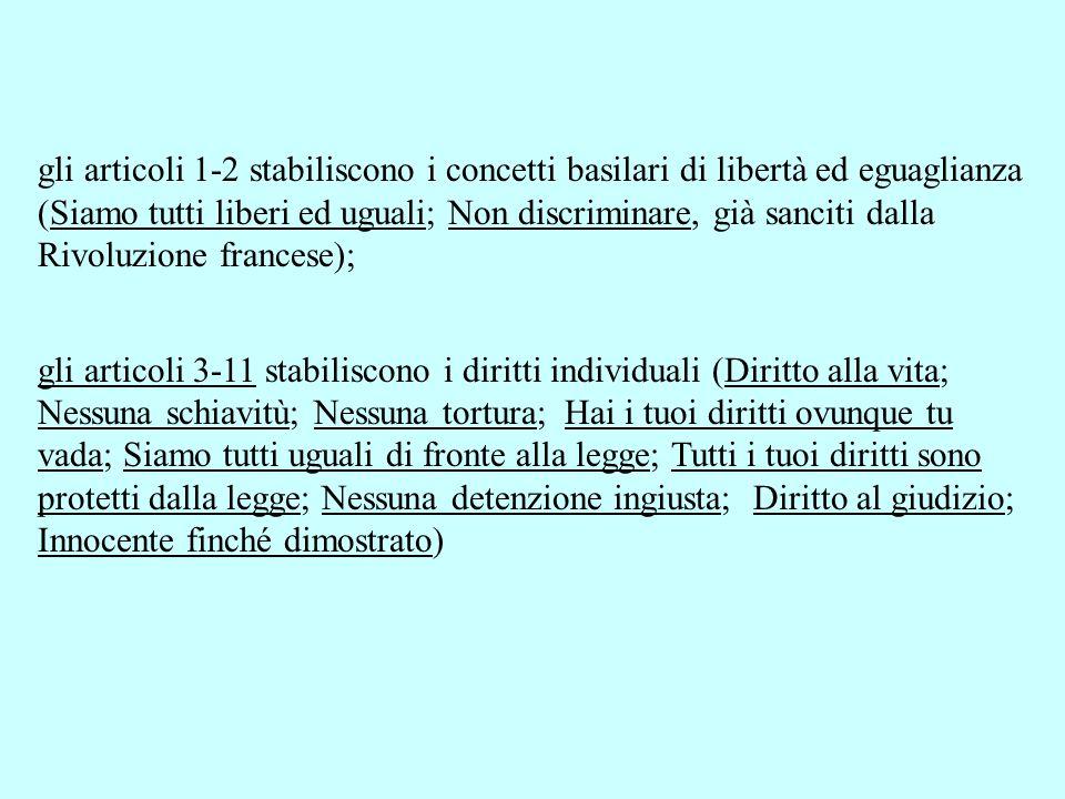 gli articoli 1-2 stabiliscono i concetti basilari di libertà ed eguaglianza (Siamo tutti liberi ed uguali; Non discriminare, già sanciti dalla Rivoluz