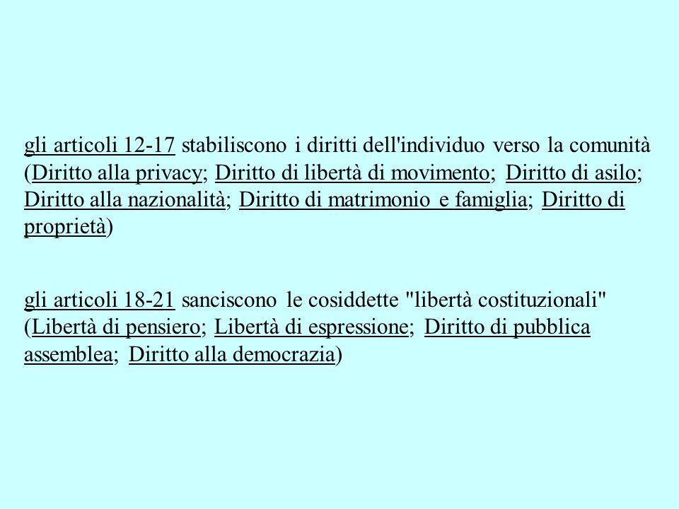gli articoli 12-17 stabiliscono i diritti dell'individuo verso la comunità (Diritto alla privacy; Diritto di libertà di movimento; Diritto di asilo; D
