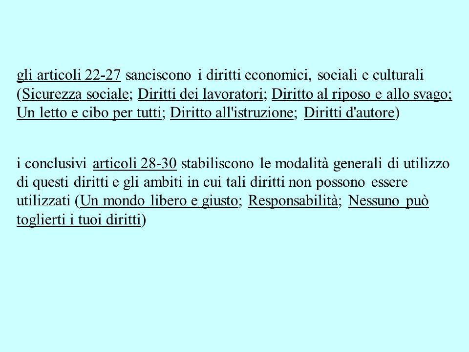 gli articoli 22-27 sanciscono i diritti economici, sociali e culturali (Sicurezza sociale; Diritti dei lavoratori; Diritto al riposo e allo svago; Un