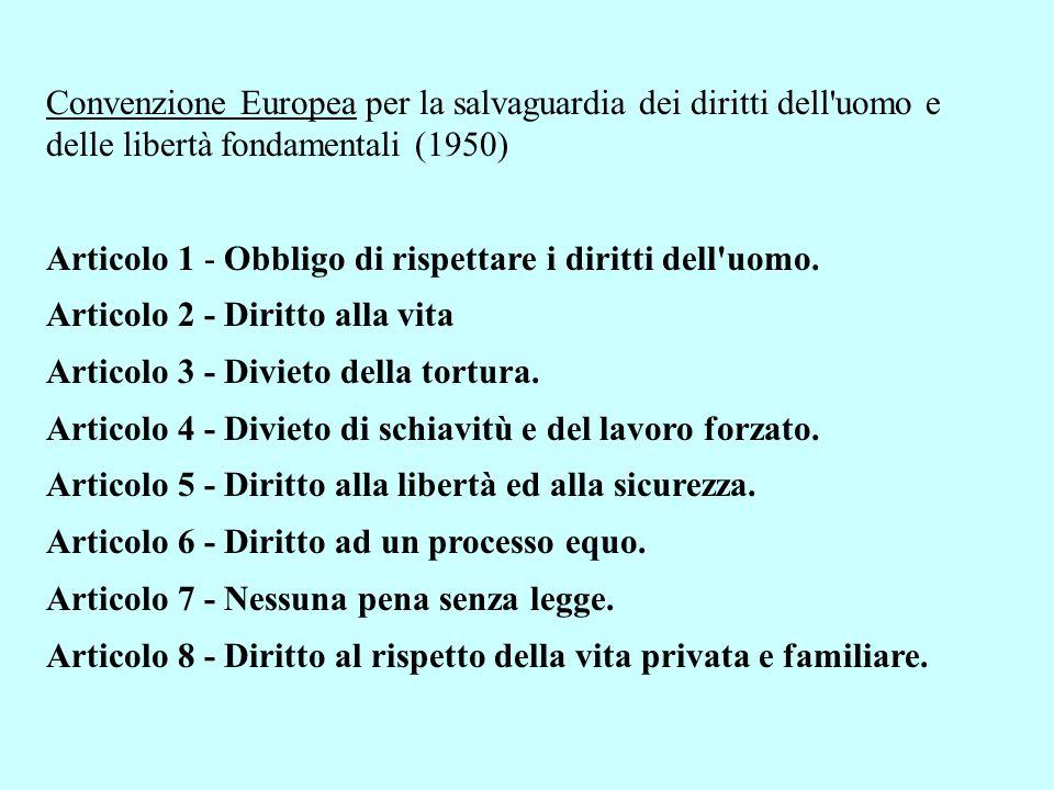 Convenzione Europea per la salvaguardia dei diritti dell'uomo e delle libertà fondamentali (1950) Articolo 1 - Obbligo di rispettare i diritti dell'uo