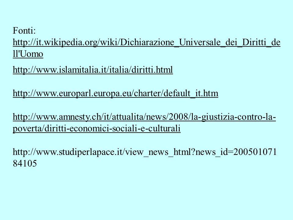 Fonti: http://it.wikipedia.org/wiki/Dichiarazione_Universale_dei_Diritti_de ll'Uomo http://www.islamitalia.it/italia/diritti.html http://www.europarl.