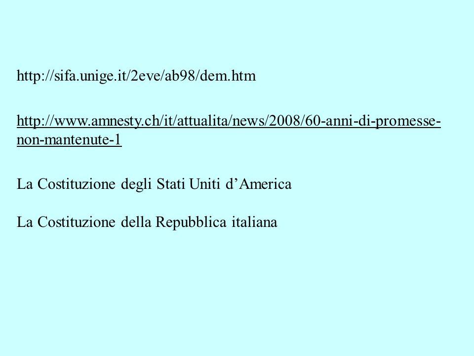 http://sifa.unige.it/2eve/ab98/dem.htm http://www.amnesty.ch/it/attualita/news/2008/60-anni-di-promesse- non-mantenute-1 La Costituzione degli Stati U