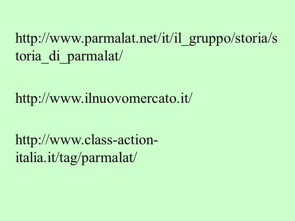 http://www.parmalat.net/it/il_gruppo/storia/s toria_di_parmalat/ http://www.ilnuovomercato.it/ http://www.class-action- italia.it/tag/parmalat/