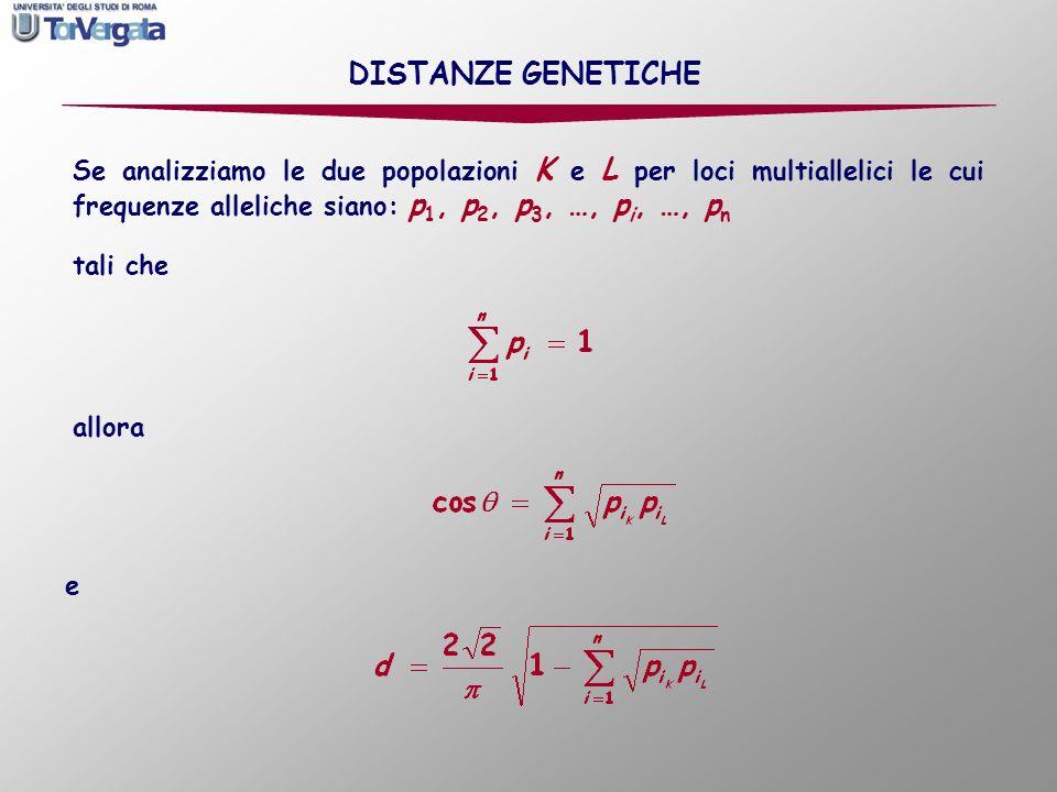 Se analizziamo le due popolazioni K e L per loci multiallelici le cui frequenze alleliche siano: p 1, p 2, p 3, …, p i, …, p n allora e DISTANZE GENET