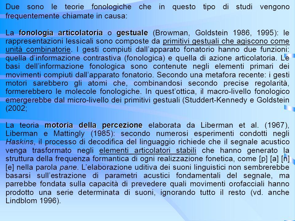 Due sono le teorie fonologiche che in questo tipo di studi vengono frequentemente chiamate in causa: fonologia articolatoriagestuale La fonologia arti