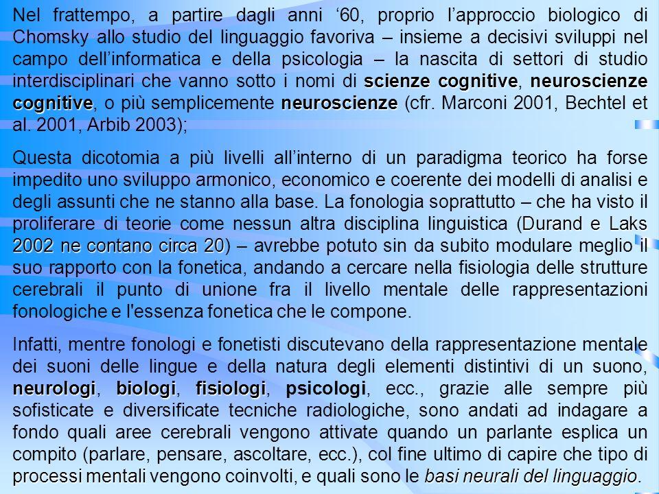 scienze cognitiveneuroscienze cognitiveneuroscienze Nel frattempo, a partire dagli anni 60, proprio lapproccio biologico di Chomsky allo studio del li