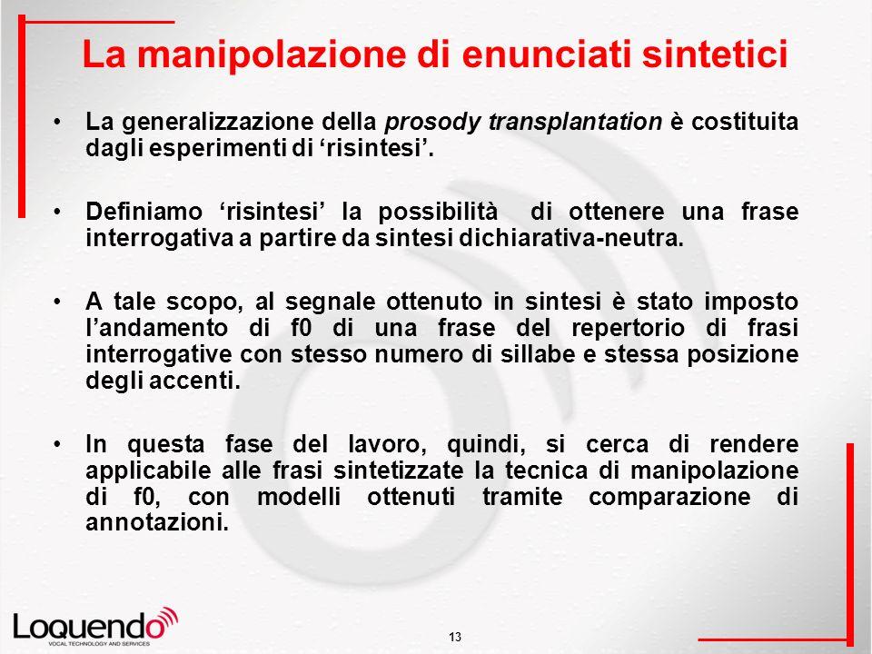 13 La manipolazione di enunciati sintetici La generalizzazione della prosody transplantation è costituita dagli esperimenti di risintesi.