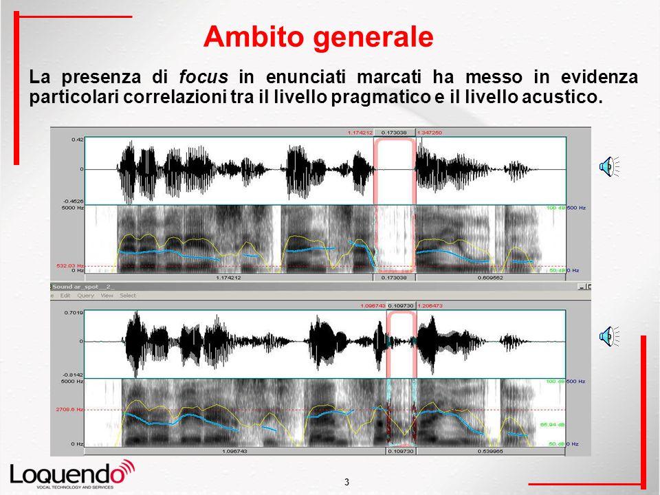 3 Ambito generale La presenza di focus in enunciati marcati ha messo in evidenza particolari correlazioni tra il livello pragmatico e il livello acustico.