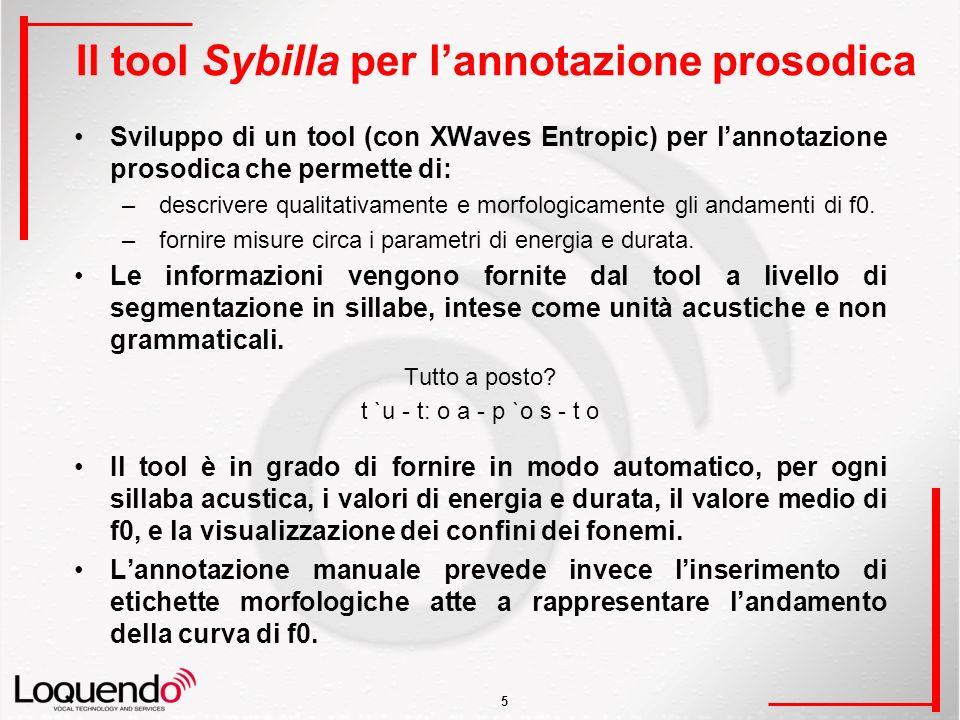 5 Il tool Sybilla per lannotazione prosodica Sviluppo di un tool (con XWaves Entropic) per lannotazione prosodica che permette di: – descrivere qualitativamente e morfologicamente gli andamenti di f0.