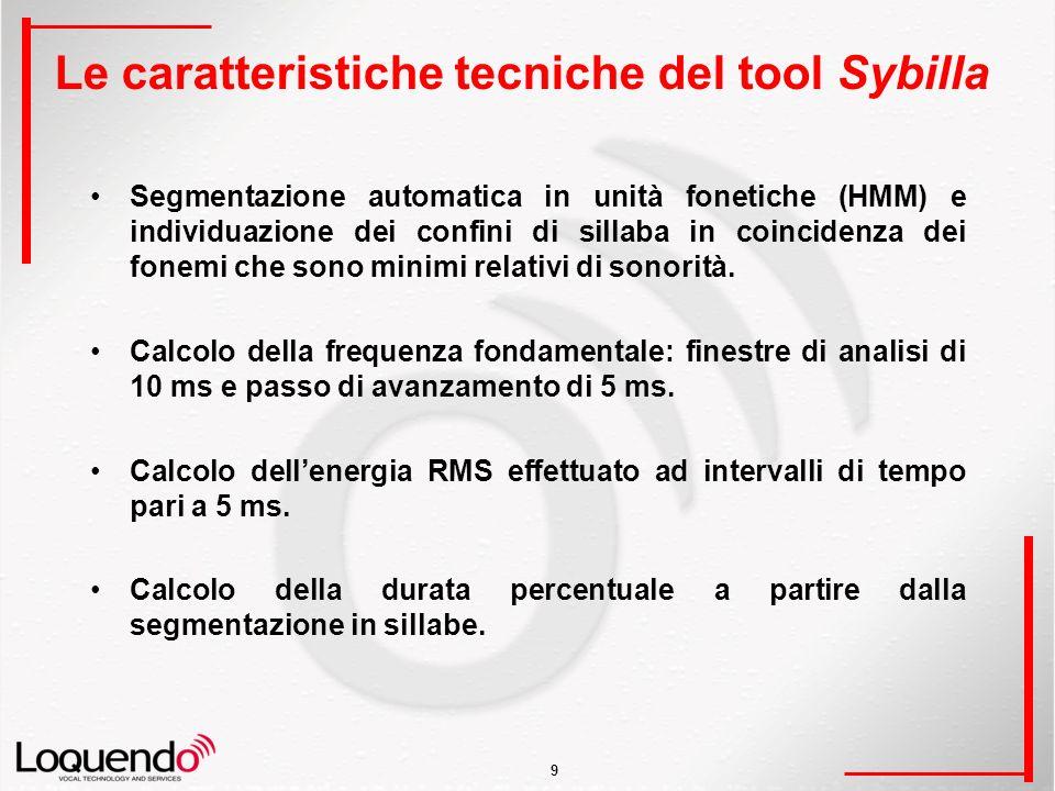 9 Le caratteristiche tecniche del tool Sybilla Segmentazione automatica in unità fonetiche (HMM) e individuazione dei confini di sillaba in coincidenza dei fonemi che sono minimi relativi di sonorità.