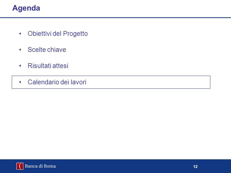 12 Obiettivi del Progetto Scelte chiave Risultati attesi Calendario dei lavori Agenda