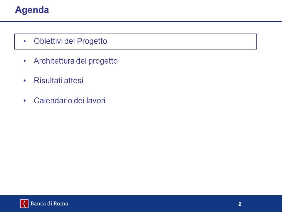 2 Obiettivi del Progetto Architettura del progetto Risultati attesi Calendario dei lavori Agenda