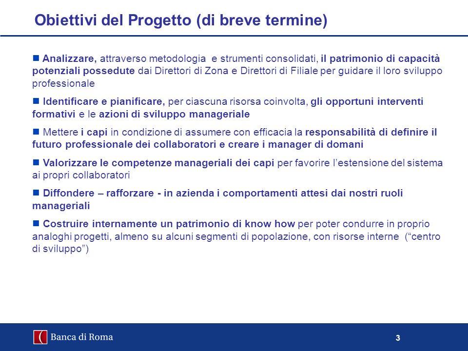3 Obiettivi del Progetto (di breve termine) Analizzare, attraverso metodologia e strumenti consolidati, il patrimonio di capacità potenziali possedute