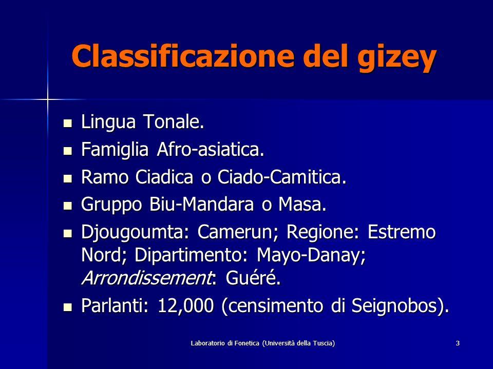 Laboratorio di Fonetica (Università della Tuscia)3 Classificazione del gizey Classificazione del gizey Lingua Tonale.