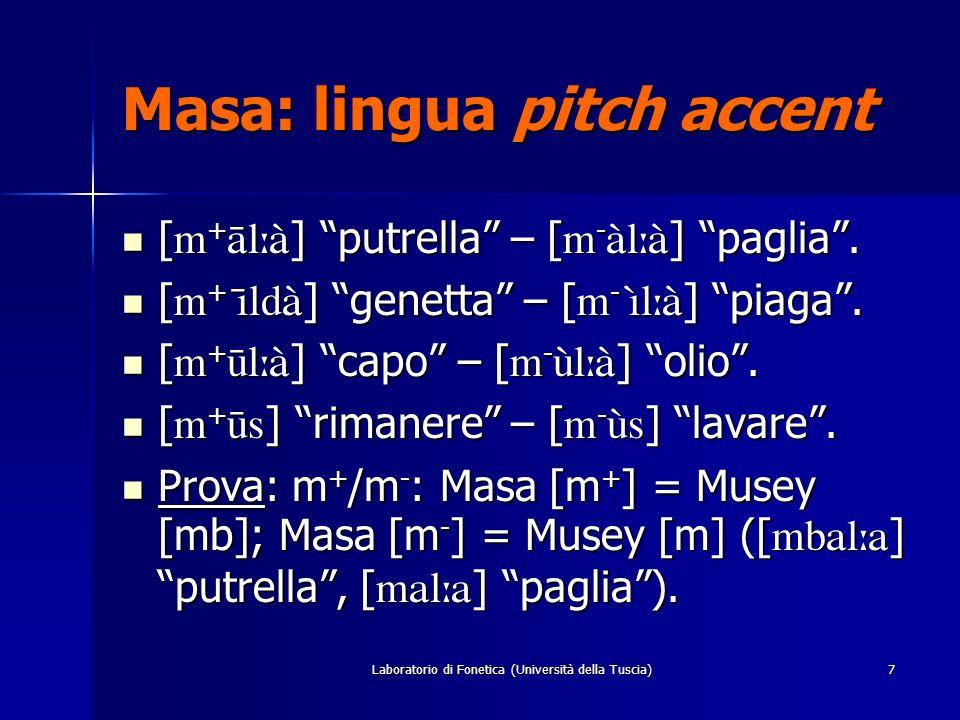 Laboratorio di Fonetica (Università della Tuscia)6 Masa: lingua pitch accent L, M, H. L, M, H. Interferenza T/C: C tone raising = occlusive & fricativ