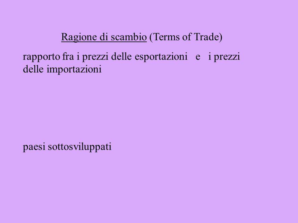 Bilancia commerciale Conto dei valori delle importazioni ed esportazioni di merci Bilancia delle partite correnti Bilancia commerciale + Partite invis