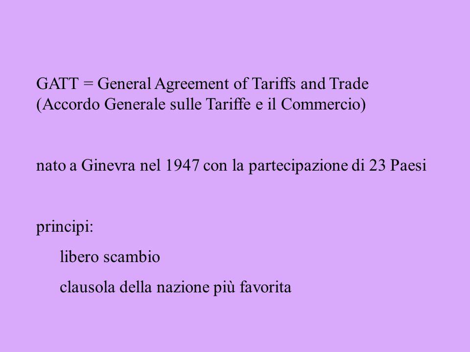 Ragione di scambio (Terms of Trade) rapporto fra i prezzi delle esportazioni e i prezzi delle importazioni paesi sottosviluppati