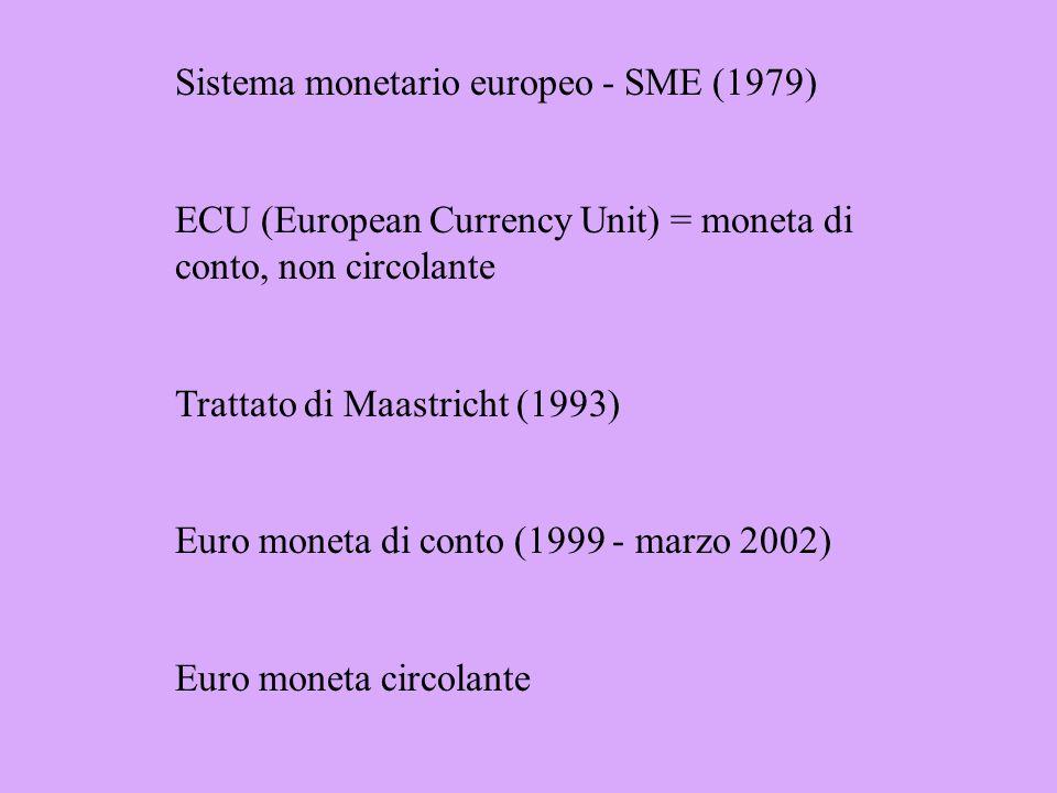 Sistema monetario aureo (gold standard, diventato gold exchange standard) - mantenimento delle bilance dei pagamenti in pareggio Inconvertibilità Accordi di Bretton Woods (1944-1971) Cambi fluttuanti
