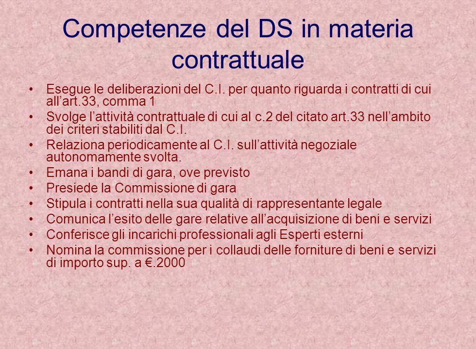 Competenze del DS in materia contrattuale Esegue le deliberazioni del C.I. per quanto riguarda i contratti di cui allart.33, comma 1 Svolge lattività