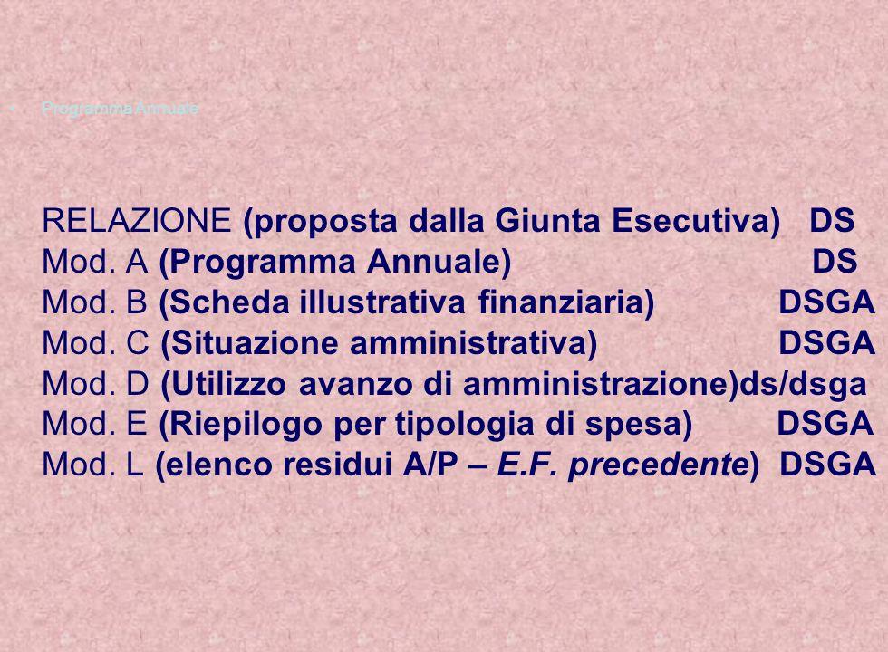 Programma Annuale RELAZIONE (proposta dalla Giunta Esecutiva) DS Mod. A (Programma Annuale) DS Mod. B (Scheda illustrativa finanziaria) DSGA Mod. C (S