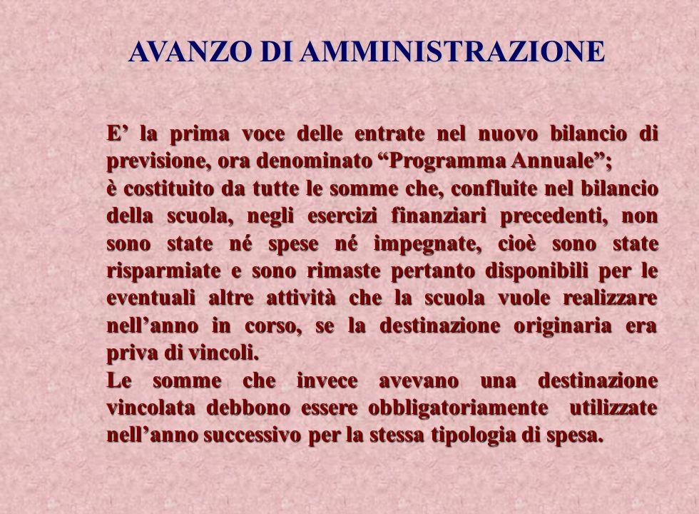 AVANZO DI AMMINISTRAZIONE E la prima voce delle entrate nel nuovo bilancio di previsione, ora denominato Programma Annuale; è costituito da tutte le s