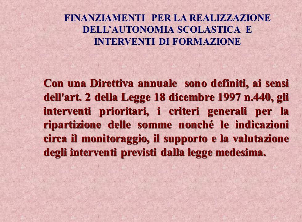 FINANZIAMENTI PER LA REALIZZAZIONE DELLAUTONOMIA SCOLASTICA E INTERVENTI DI FORMAZIONE Con una Direttiva annuale sono definiti, ai sensi dell'art. 2 d