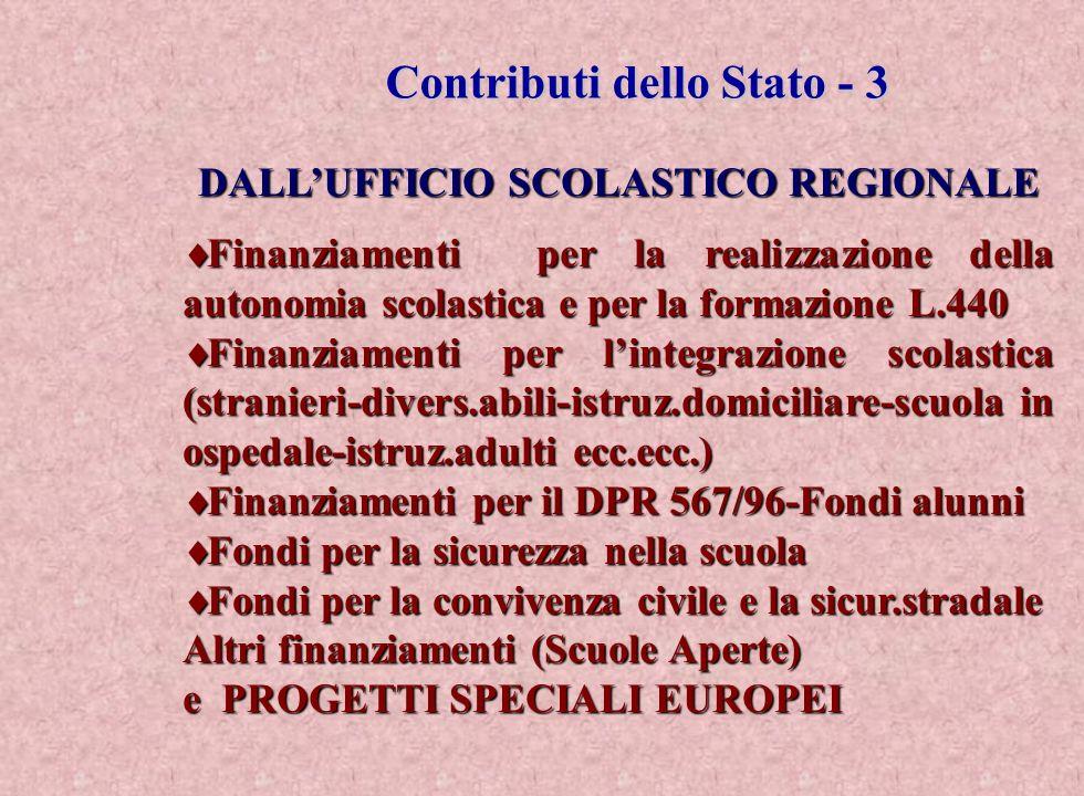 Contributi dello Stato - 3 Contributi dello Stato - 3 DALLUFFICIO SCOLASTICO REGIONALE Finanziamenti per la realizzazione della autonomia scolastica e